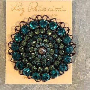 Liz Palacios teal green blue Swarovski brooch NEW!